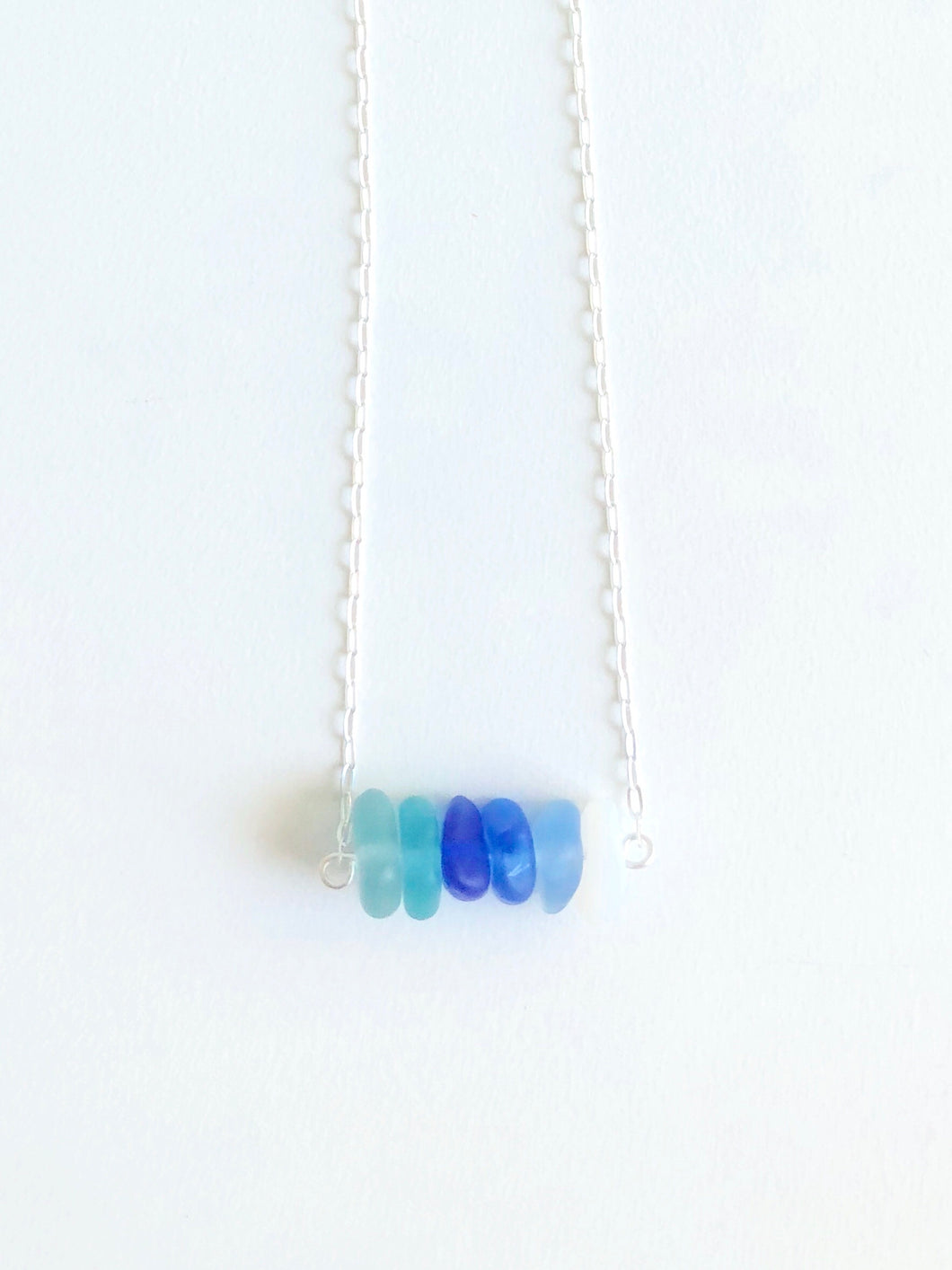 Teal and Cobalt Ombre Sea Glass Bar Necklace