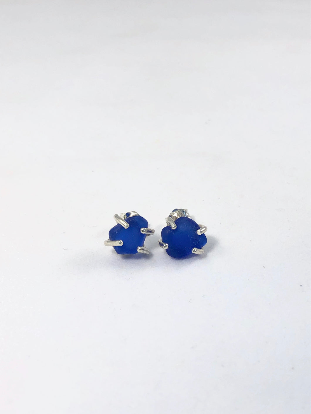 Cobalt Sea Glass Stud Earrings