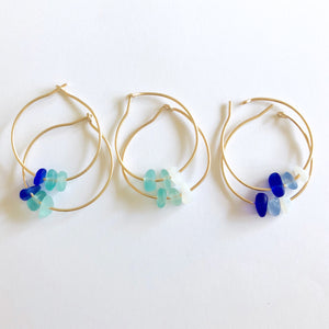Gold Sea Glass Hoops