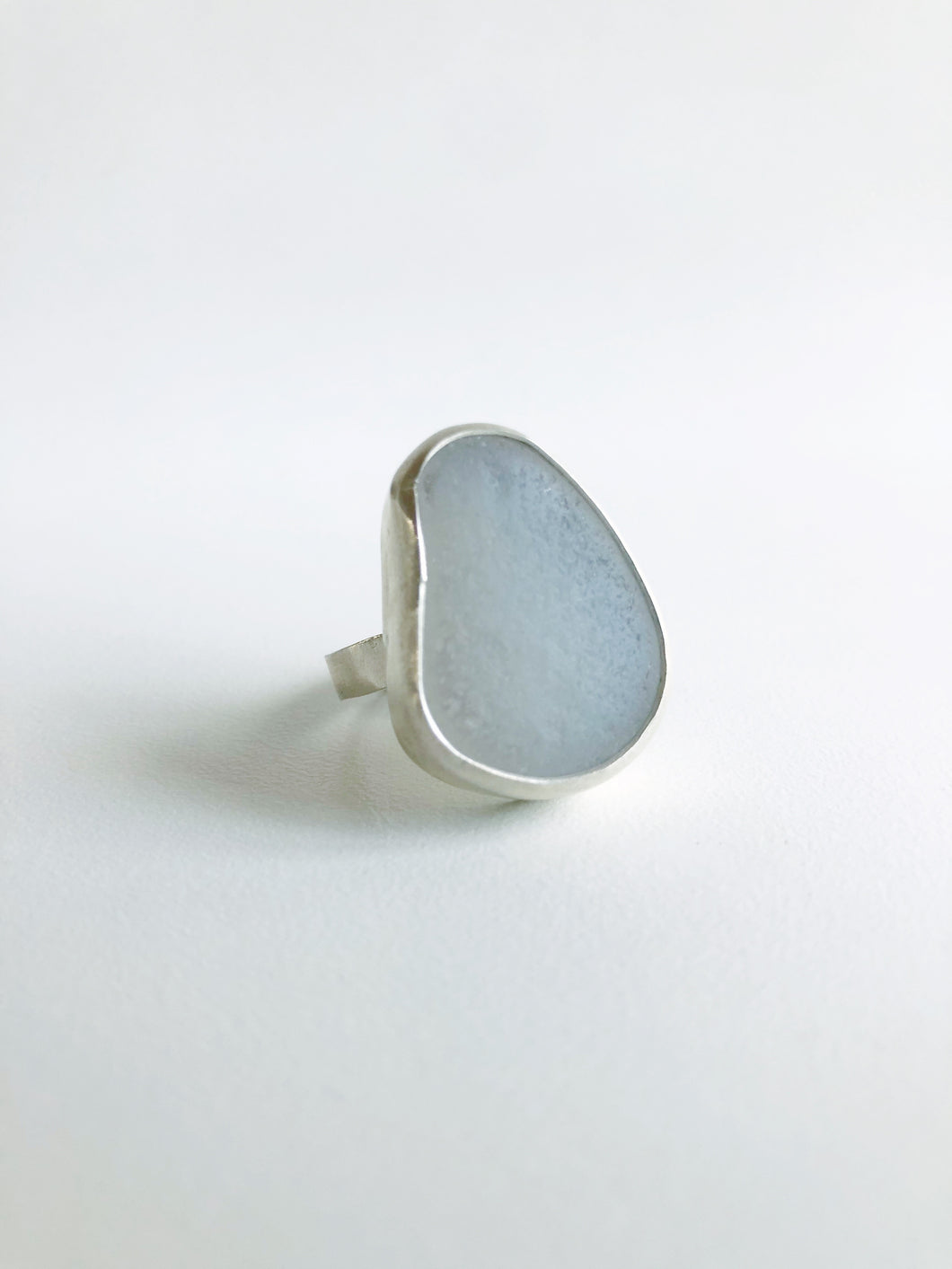 Big Gray Sea Glass Ring