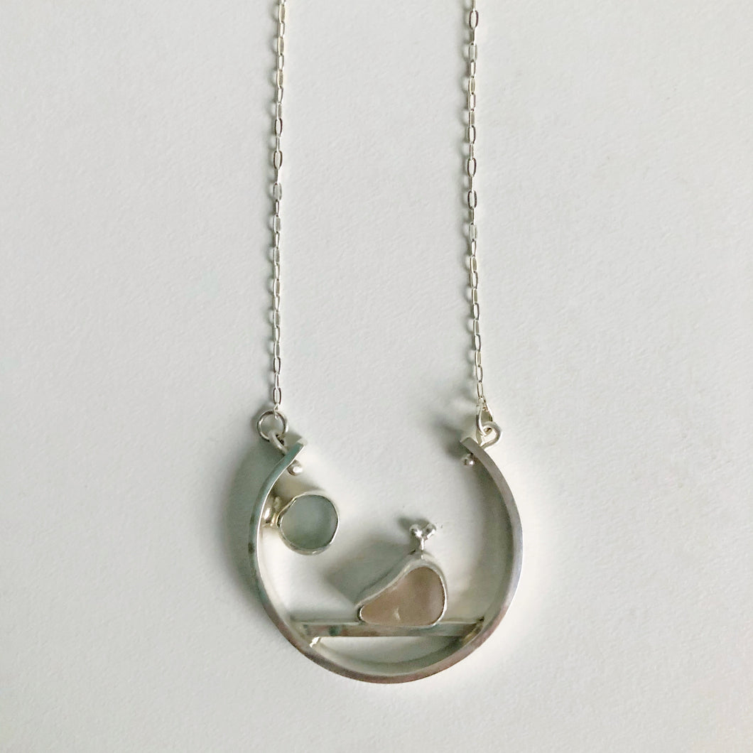Pink Whale and Moon Sea Glass Necklace Pendant