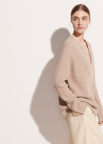 Overlap V-Neck Tunic in Light Heather Taupe