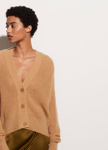 Mohair Open Stitch Cardigan in Straw