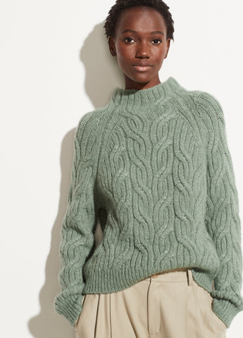 Alpaca Twisted Cable Turtleneck in Heather Jadeite