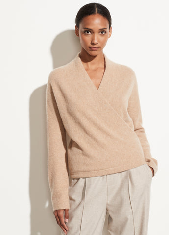 Boiled Cashmere Wrap Front Pullover in Heather Desert Clay