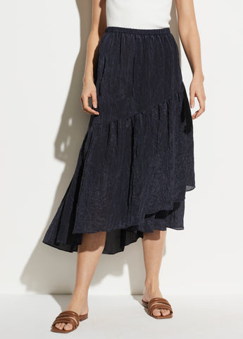 Tiered Textured Skirt in Light Marine