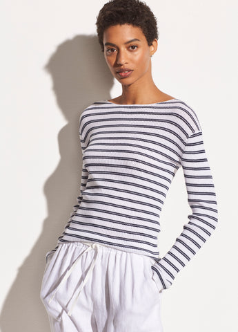 Striped Ribbed Boat Neck in Optic White/Marine