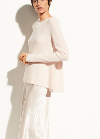 Directional Rib Cashmere Pullover in Rosewater