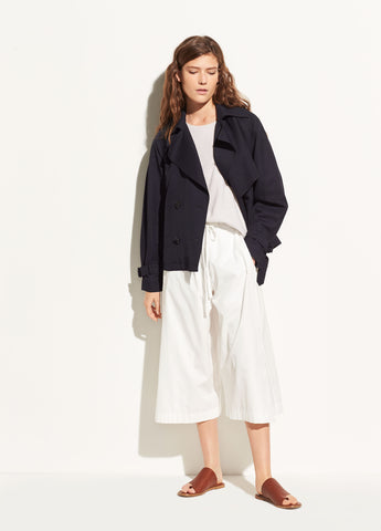 Cropped Trench in Coastal Blue