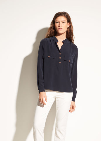 Washed-Silk Utility Blouse in Coastal Blue
