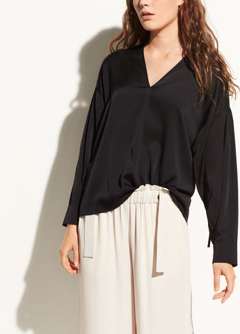 Ruched Split-Neck Stretch-Silk Blouse in Black