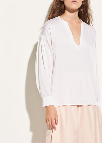 Ruched Split-Neck Stretch-Silk Blouse in Optic White