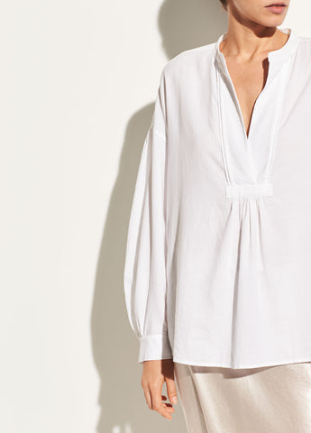 Shirred Cotton Blouse in Optic White