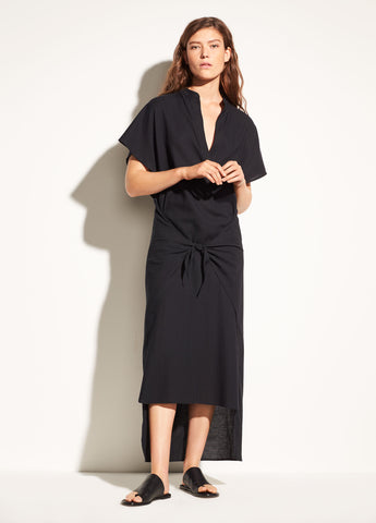 Wrap Front Cotton Dress in Black