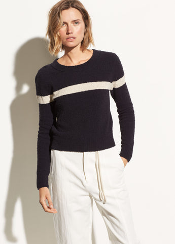 Single Stripe Cotton Pullover in Coastal/Chalet