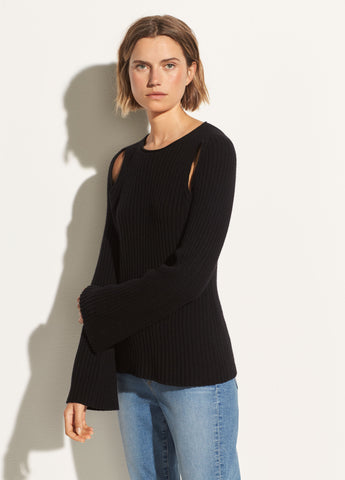 Shoulder Slit Cashmere Crew in Black