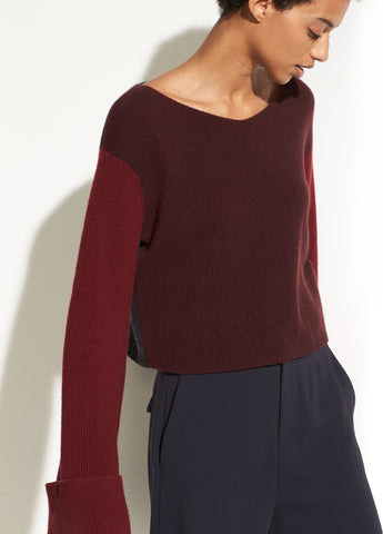 Color Block Cashmere Pullover in Black Cherry/Merlot