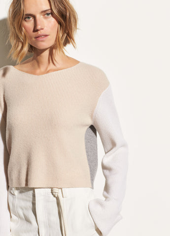 Color Block Cashmere Pullover in Buff Cream