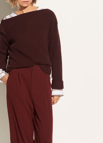Asymmetrical Ribbed Pullover in Black Cherry
