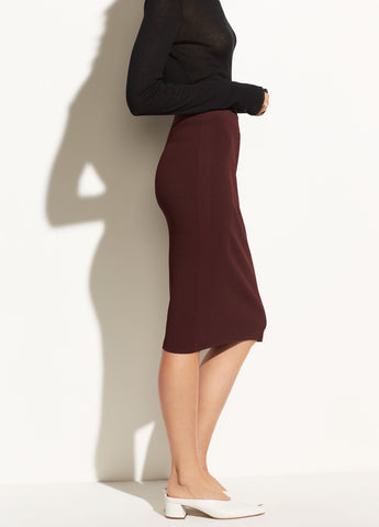Ribbed Skirt in Black Cherry