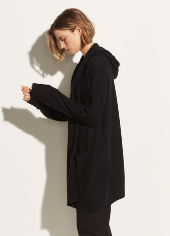 Hooded Cashmere Cardigan in Black
