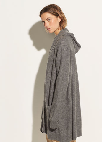 Hooded Cashmere Cardigan in Heather Stone
