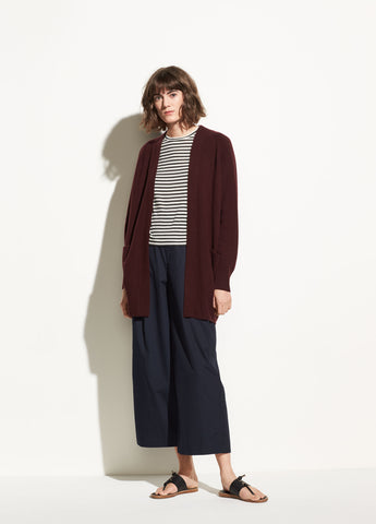 Raglan Sleeve Cashmere Cardigan in Black Cherry