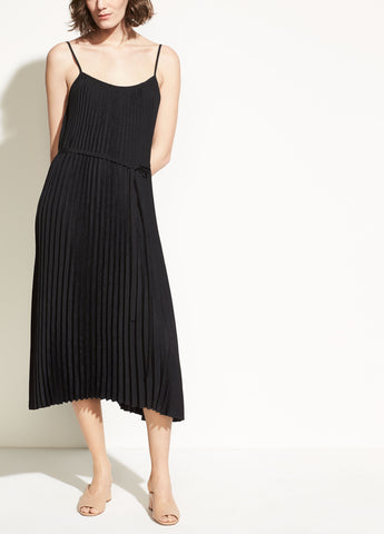 Pleated Cami Dress in Black