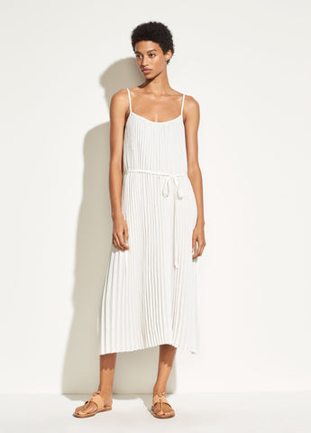 Pleated Cami Dress in Off White