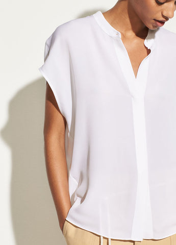 Sleeveless Back Slit Popover in Optic White