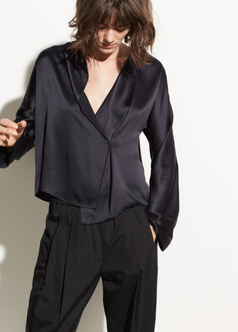 Drape Panel Silk Blouse in Black