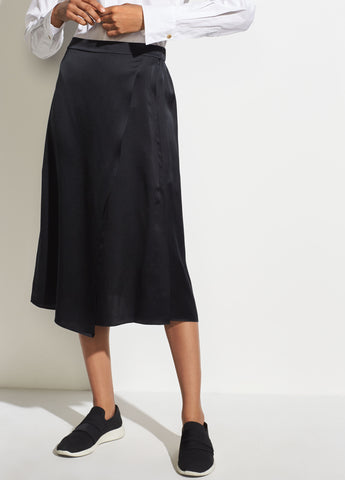 Drape Panel Silk Skirt in Black