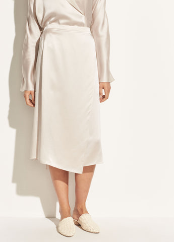 Drape Panel Silk Skirt in Sandstone