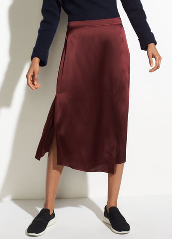 Drape Panel Silk Skirt in Merlot