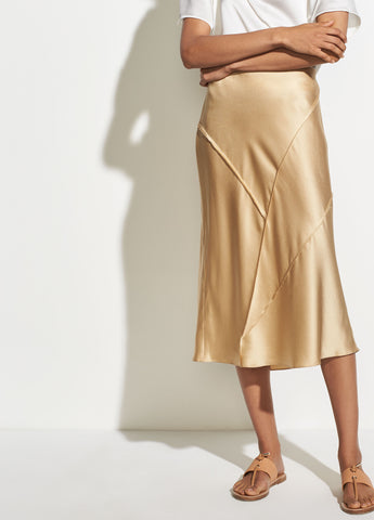 Raw Edge Bias Skirt in Ginseng