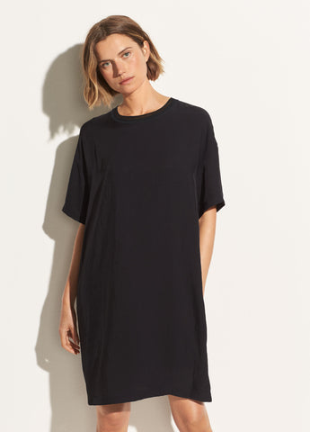 Rib Trim Dress in Black