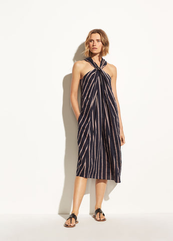 Textured Stripe Twist Front Halter Dress in Coastal Blue