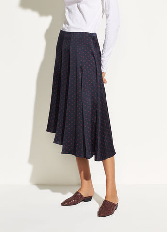 Leaf Foulard Asymmetric Skirt in Coastal Blue