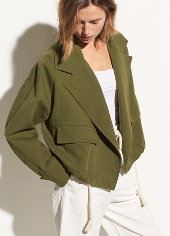 Cropped Cotton Lapel Jacket in Cedar