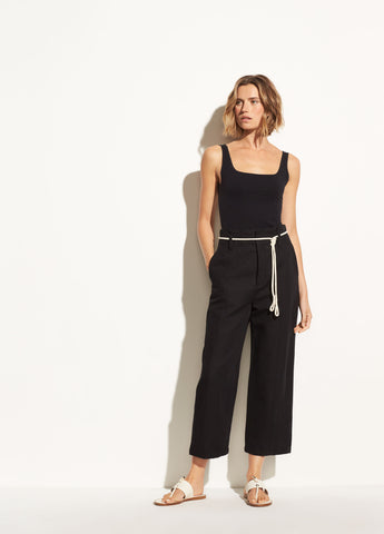High-Rise Linen Crop in Black