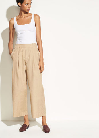 Wide Leg Cotton Pull On in Khaki