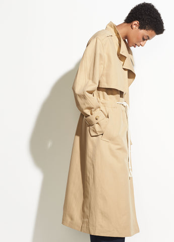 Long Linen Trench in New Khaki