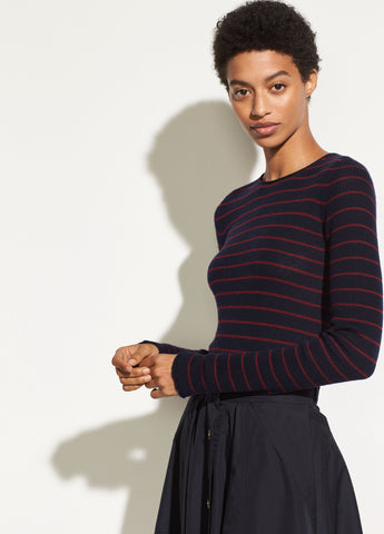 Stripe Ribbed Cashmere Crew in Coastal/Merlot