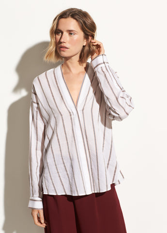 Textured Stripe Blouse in Optic White