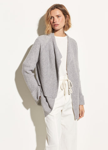 Drape Front Wool Cardigan in Heather Steel