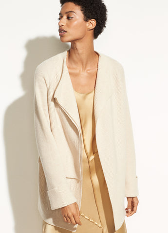 Drape Front Wool Cardigan in Sand