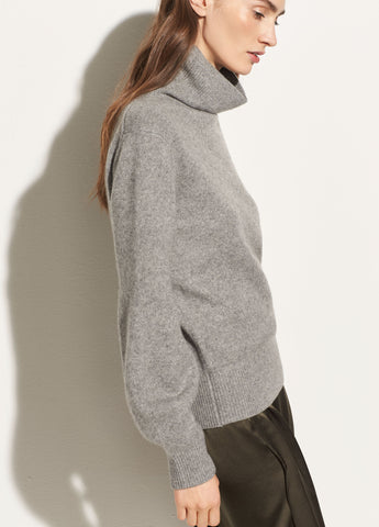 Bishop Sleeve Turtleneck in Heather Cinder