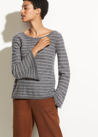 Bell Sleeve Pullover in Heather Stone/Sterling