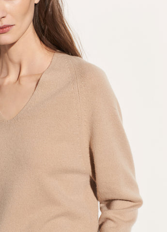 Deep V-neck Raglan in Latte