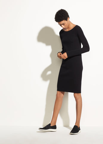 Long Sleeve Ribbed Dress in Black